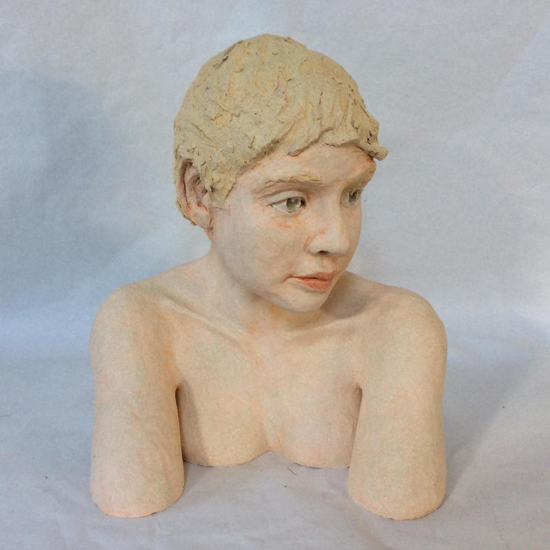 Young girl - glazed clay