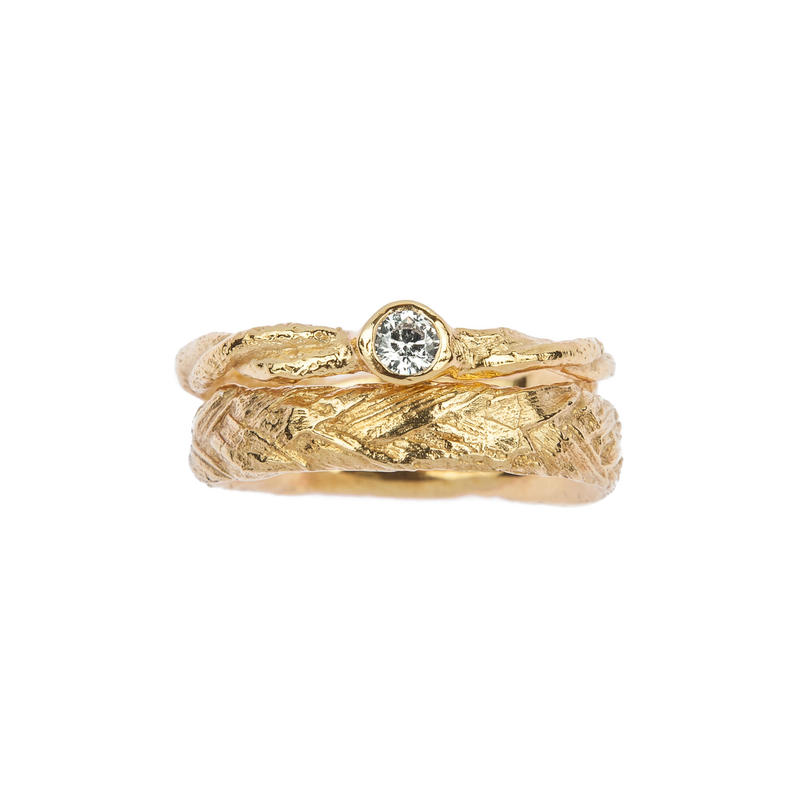 Twisted twig engagement ring with plaited grass wedding band £2150