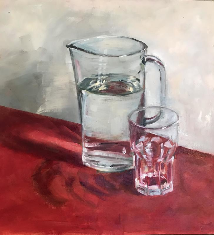 Jug and Glass  40cm x 30cm Oil on Board