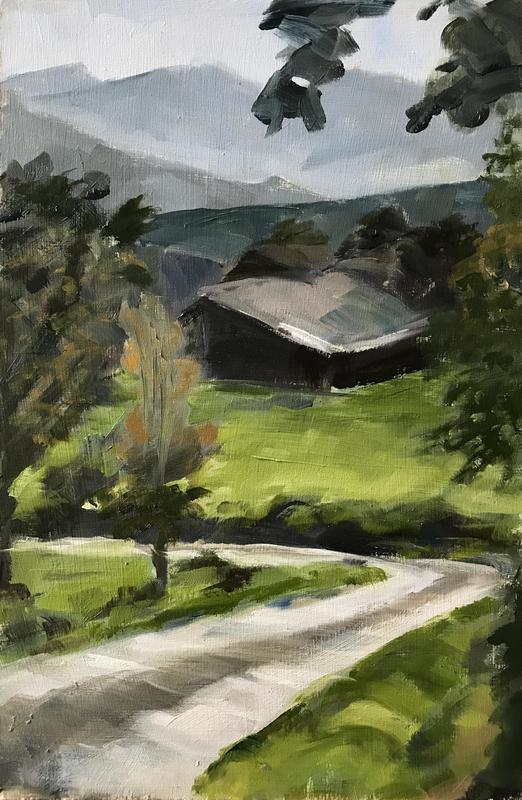 The Lane by the House  35cm x 25cm Oil on Board