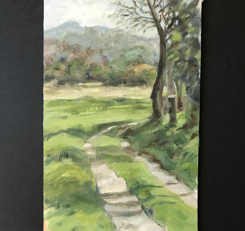 Follow the Track   350mm x 250mm. Oil on Board