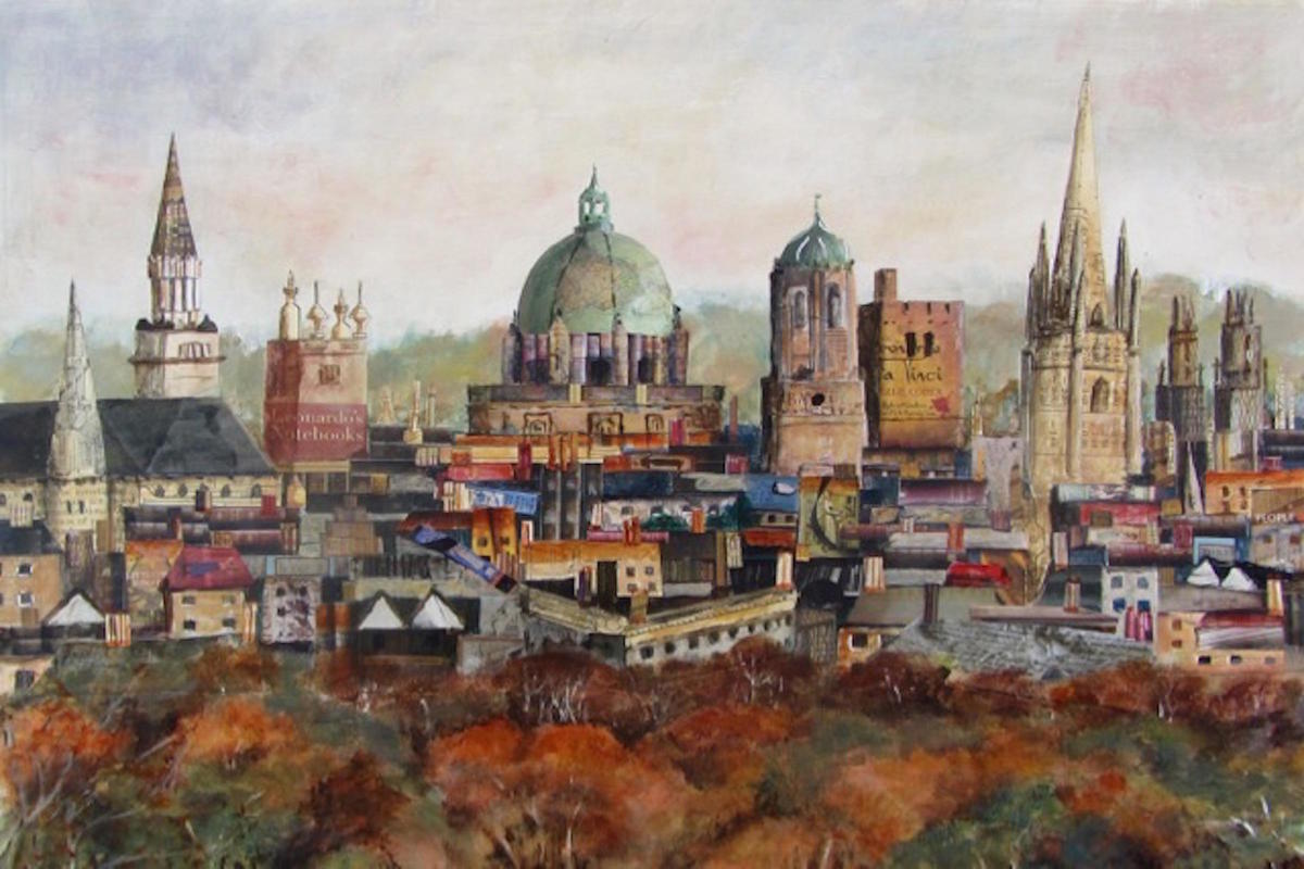 """""""Oxford Skyline"""", collage and acrylic, SOLD. Available as a limited edition print, £25"""