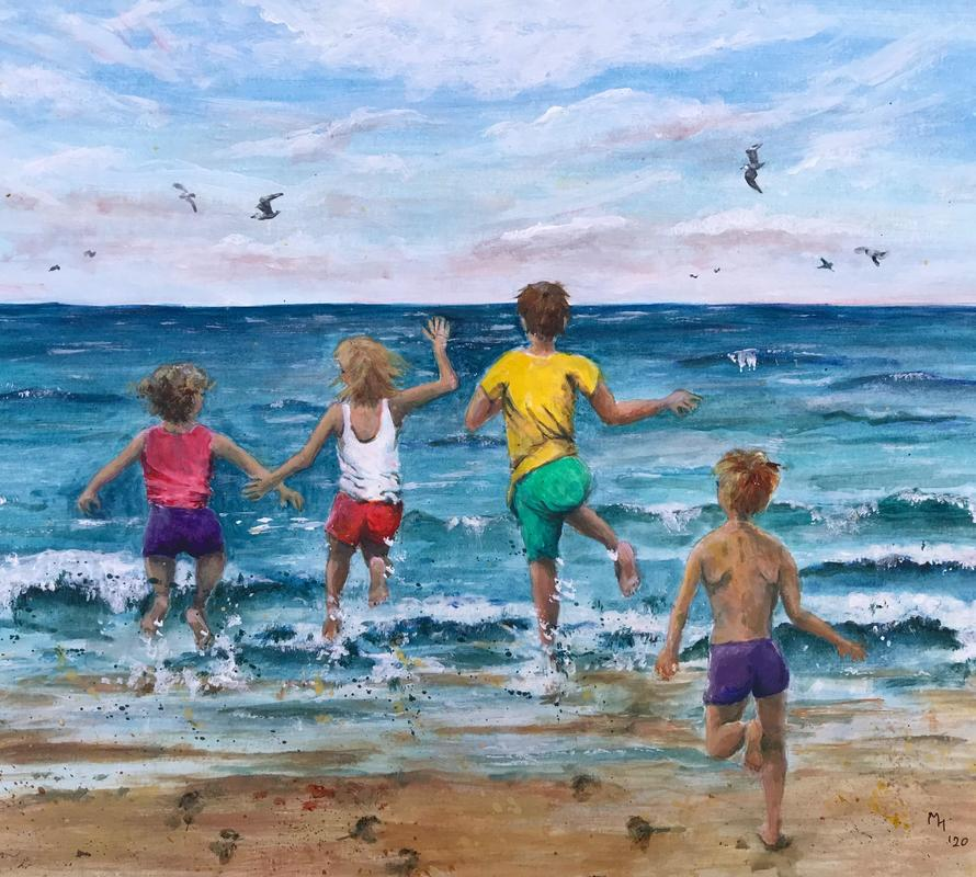 """""""Race you to the sea"""", acrylic, 12"""" by 16"""", framed. SOLD   Also available as a limited edition print, £28"""