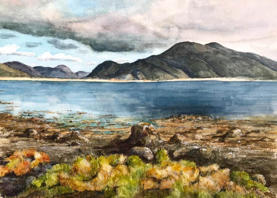 """""""A stormy day on Mull"""", watercolour,12"""" by 16"""",  framed, £110."""