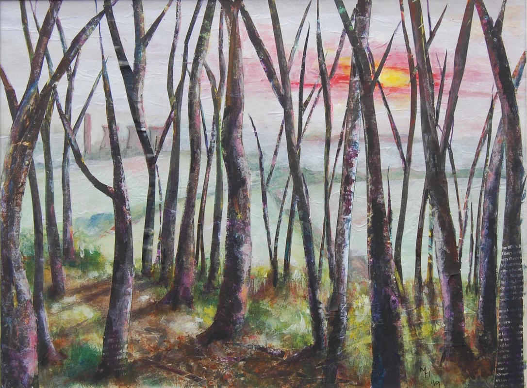 """""""A winter's day on Boars Hill"""", collage and acrylic, 12"""" by 16"""", framed, £80"""