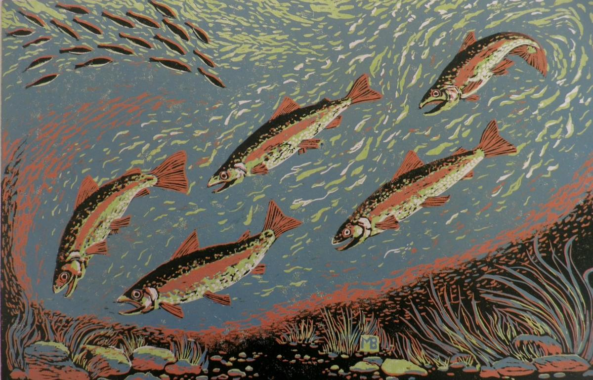 Trout Quintet          woodcut