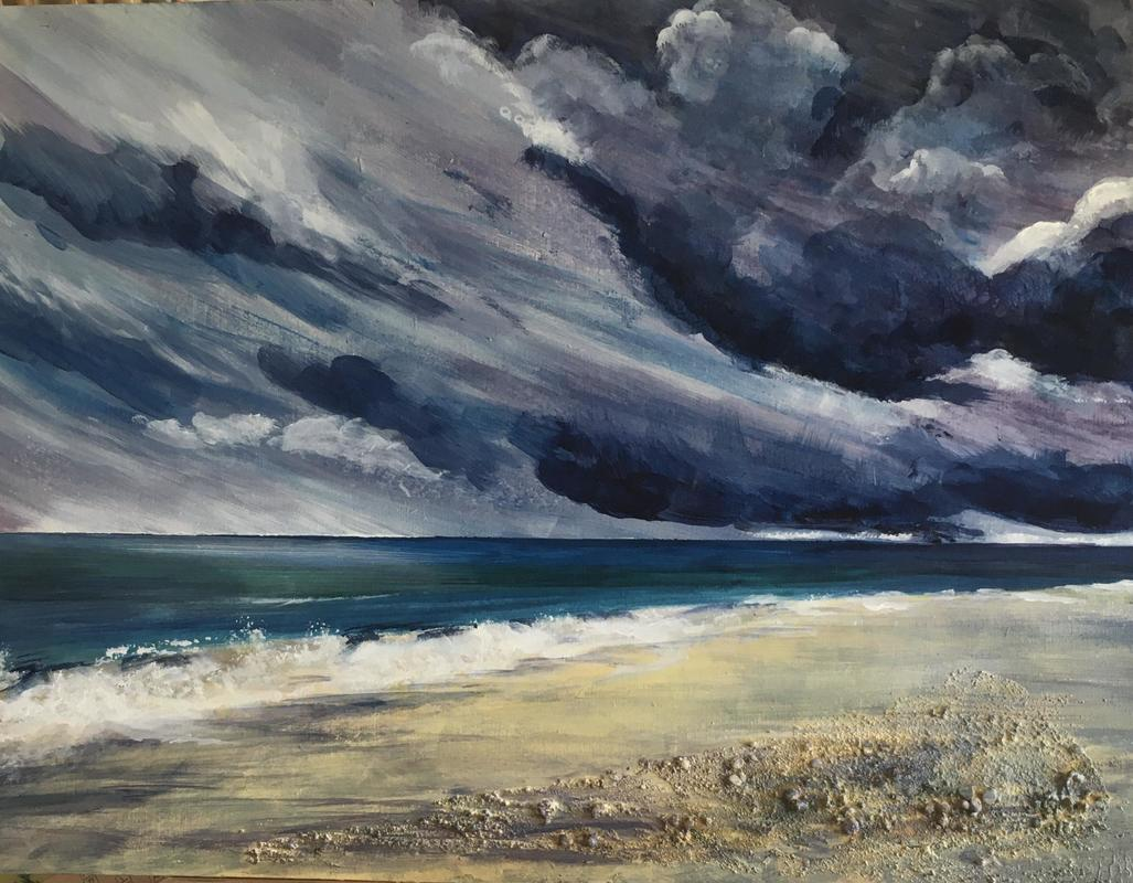 Storm coming, Mudeford, acrylic, collage