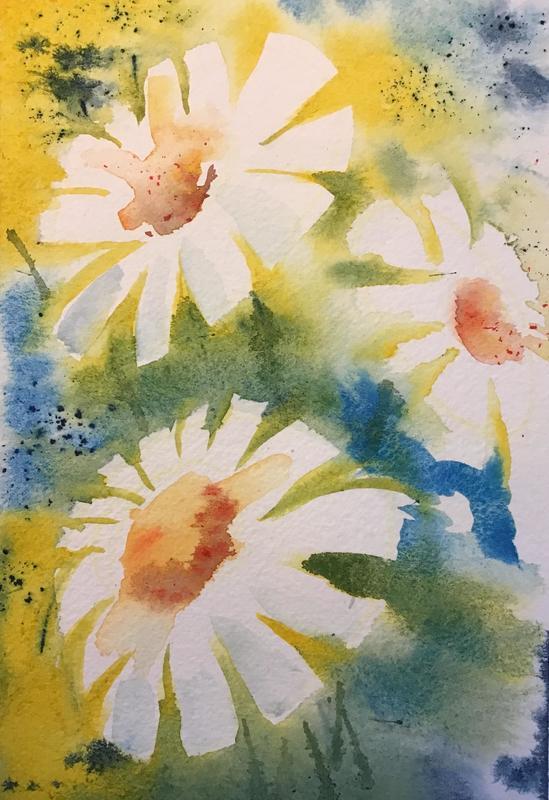 Daisies, acrylic