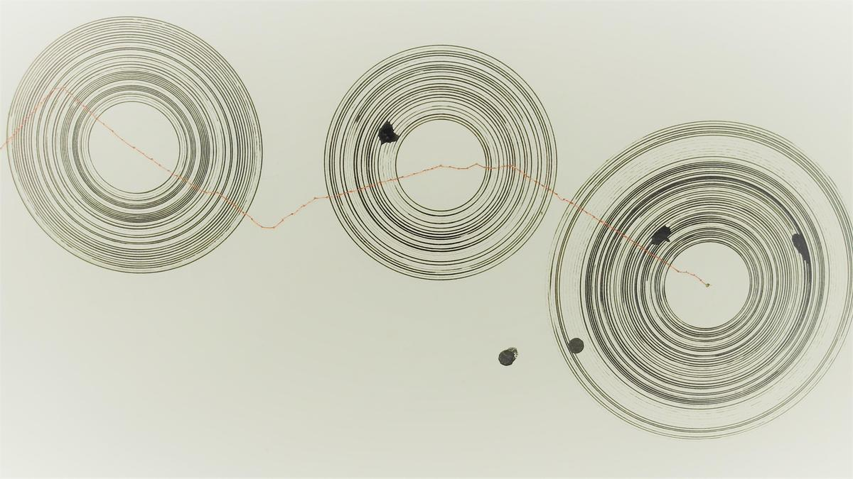 """""""The Fallibility of Human Memory"""" (detail), ink and copper thread on paper. (2020)"""