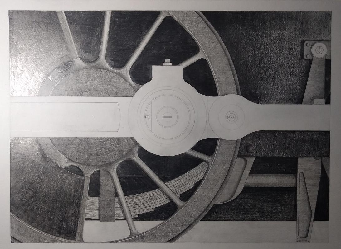 Didcot Study No.1: Steel & Grime, pencil drawing (2020)