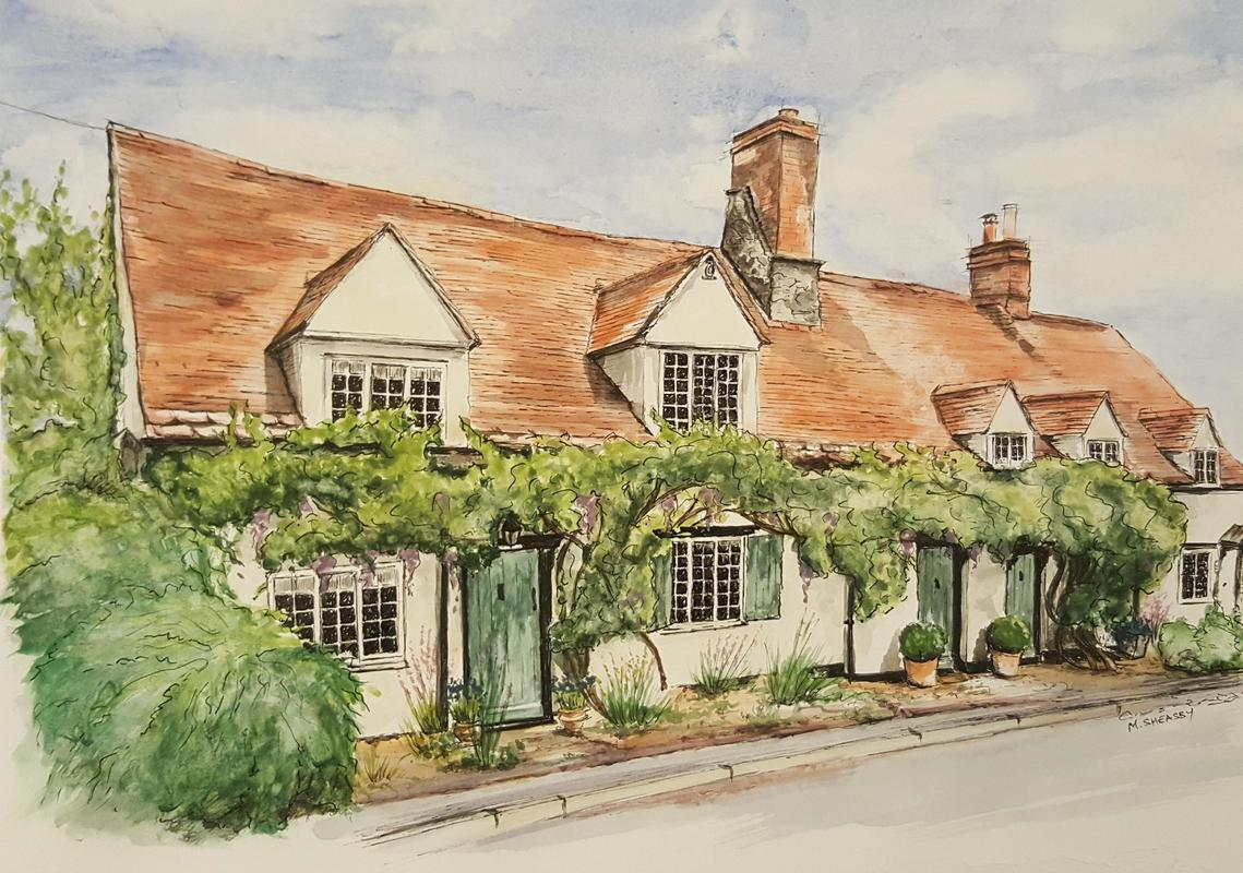 Pretty House in Watercolour and Pen