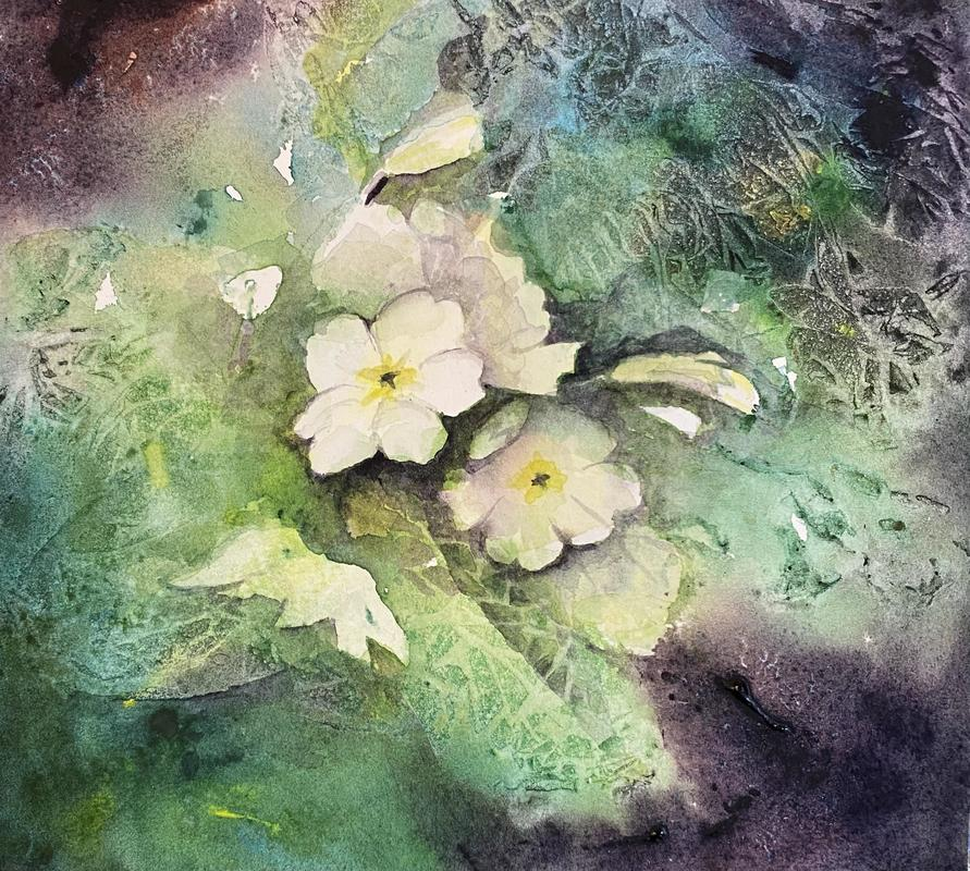 Signs of Spring, watercolour on wood panel, 20 x 20cms, £125