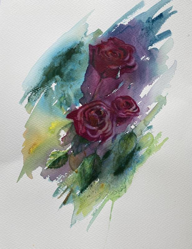 Red Roses, watercolour, 40 x 50cms, £225