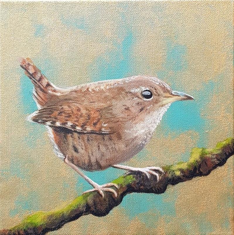 Jenny Wren original painting 20x20cm