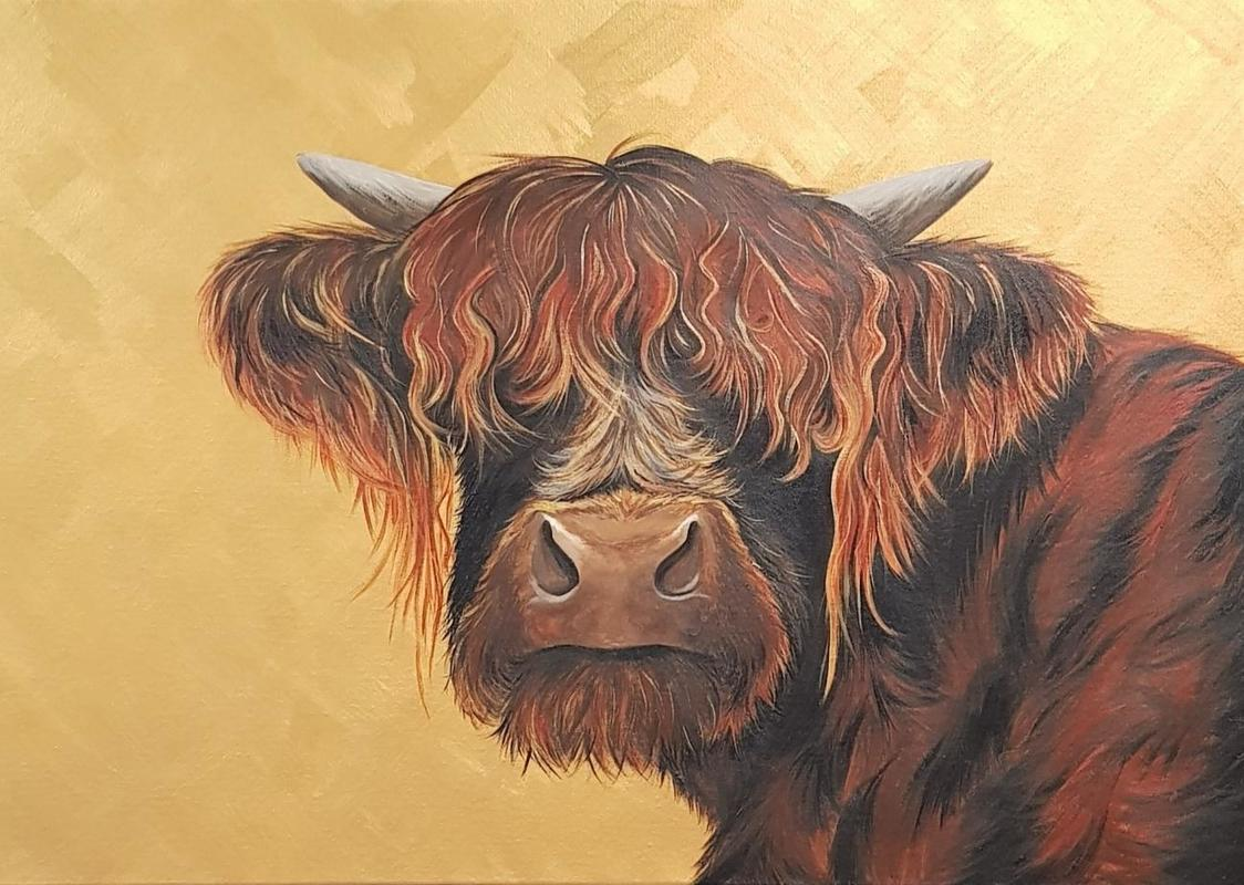 Red Highland cow on gold original painting 60x90cm