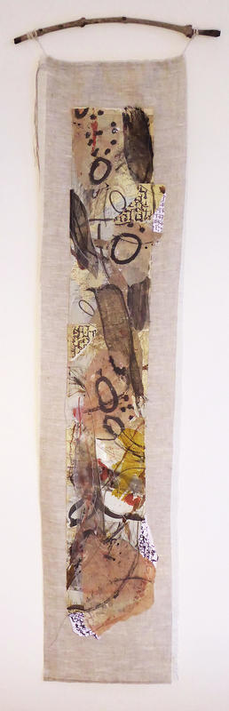 'The Journey. Memories of travel in a covid summer'. Mixed media wall hanging. Approx 105cm. £275