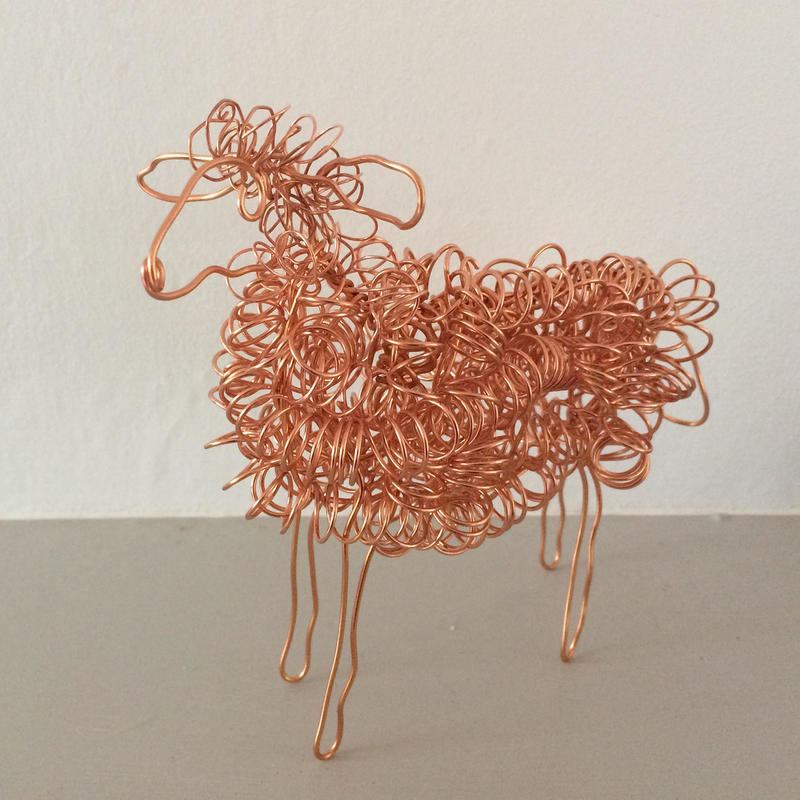 Copper wire sheep. 8cm high. Freestanding. Unique