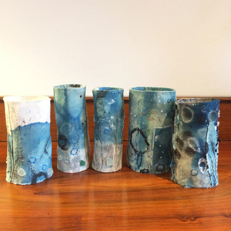 Sea Stories, series 1. Five mixed media vessels. Unique. Approx 12cm high
