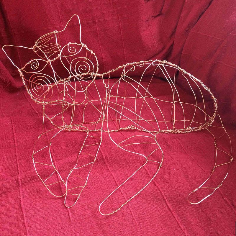 Sofa Cat. Copper wire, life-size. Unique. Orders welcome. From £100 each