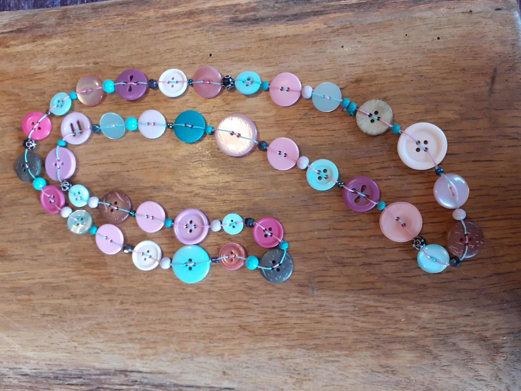 pastel pinks and blue button necklace