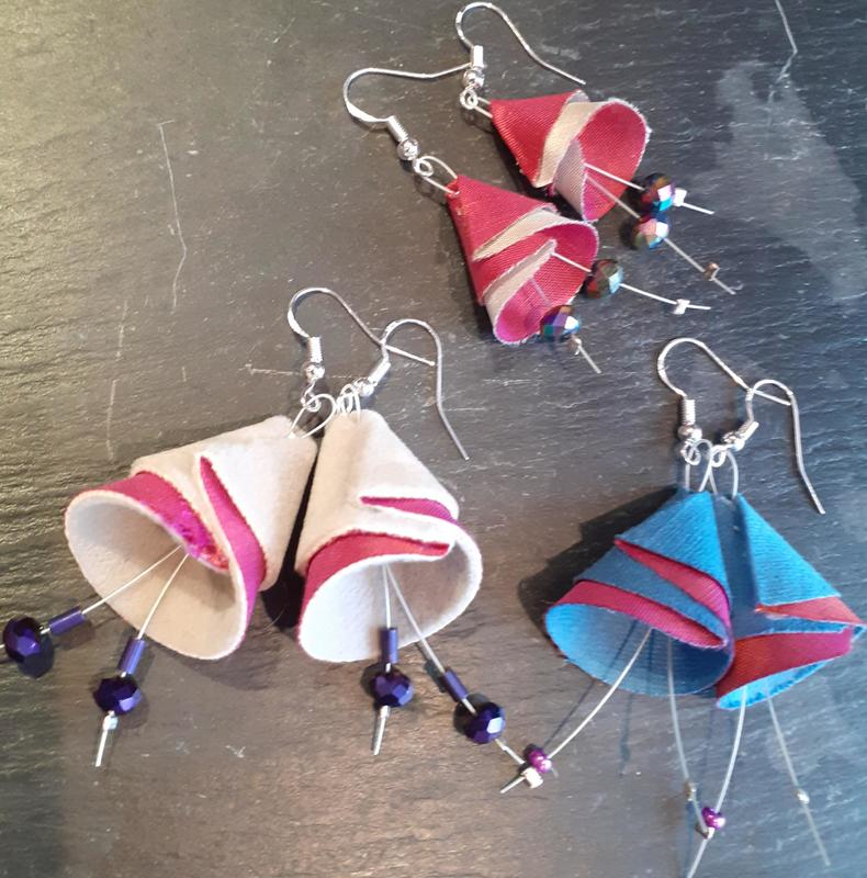 earrings made from fabric
