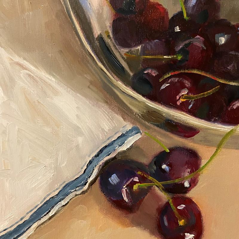 cherries in a silver bowl - Oil on board - £125