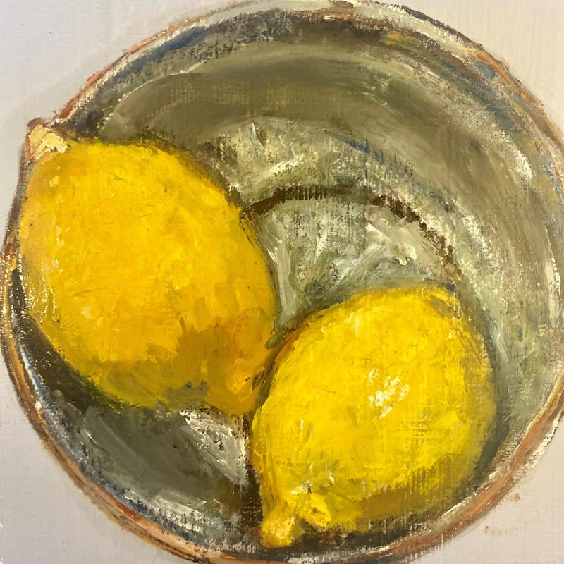 lemons in a copper bowl - Oil on paper - framed £180
