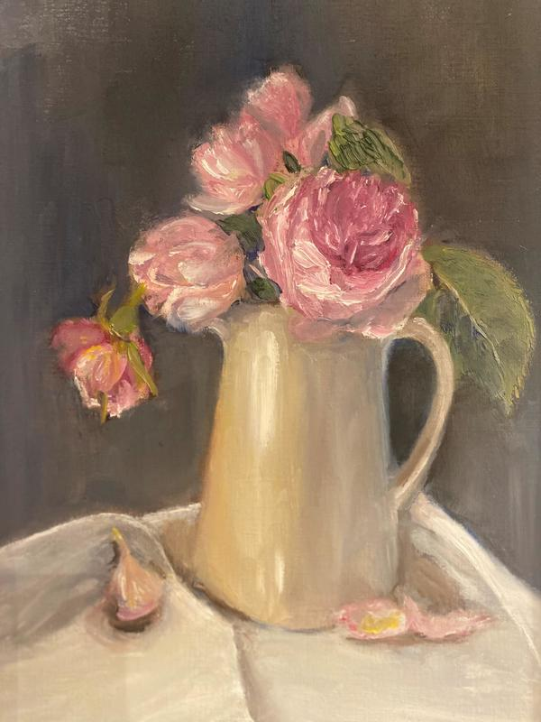 Garden Roses in cream jug - Oil on paper  framed £285