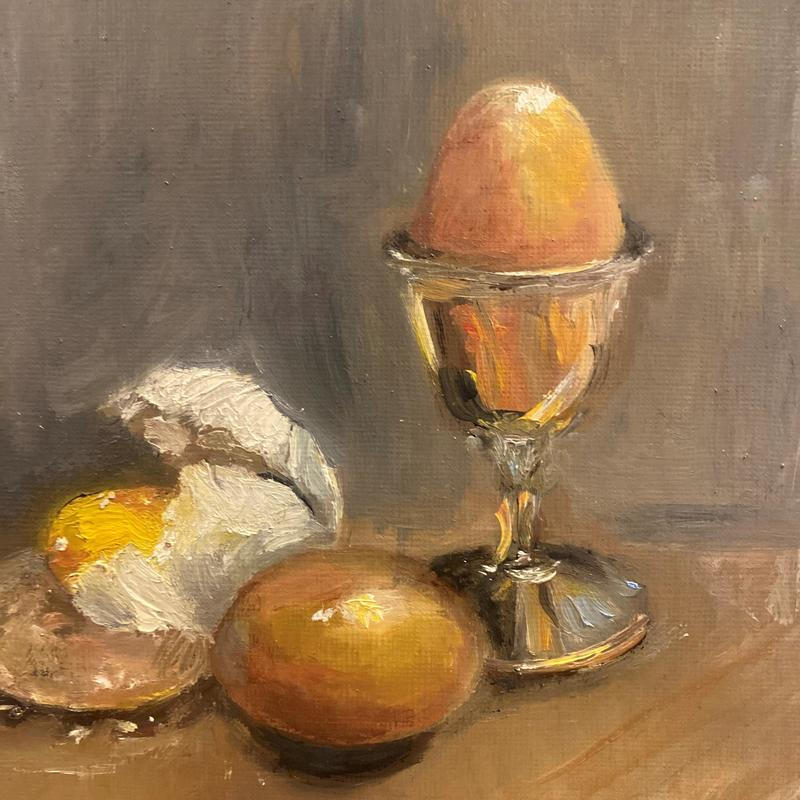 Egg in silver cup  - oil on paper ( framed 36 x36cm)  £150