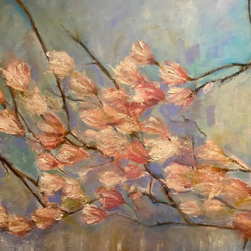 Magnolia Breeze - oil and mixed media on canvas    (100 x 80cm)- £3000