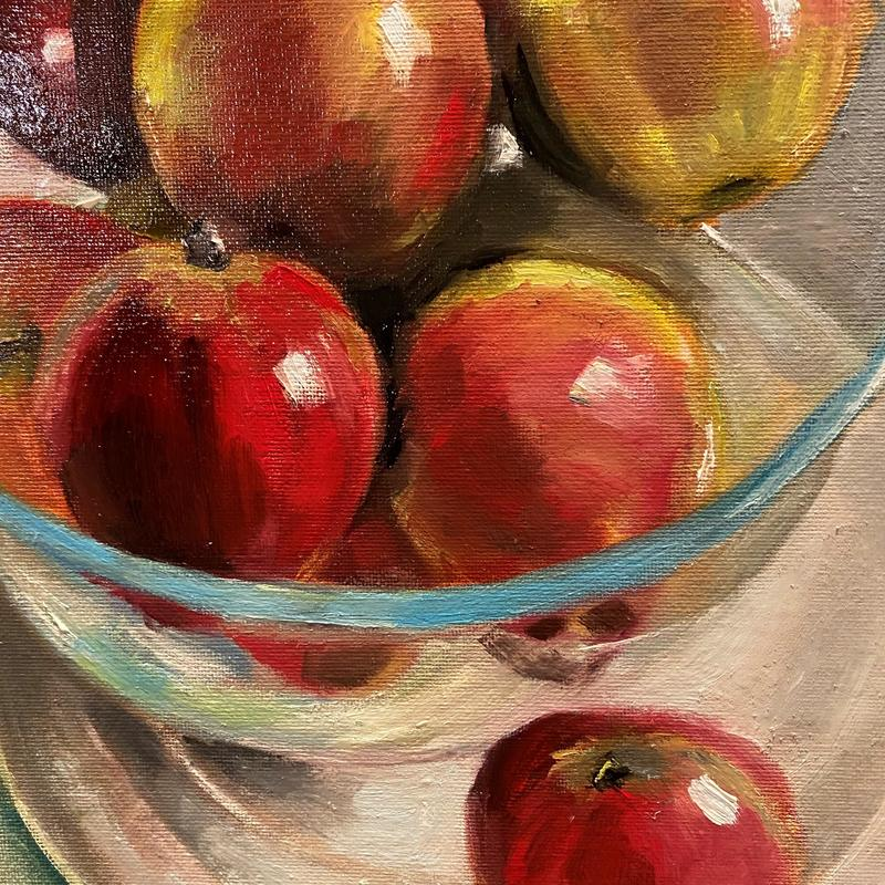Rosy apples in glass bowl - Oil on board 25 x 30cm   £150