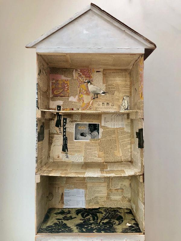 House. paper, textile, found objects