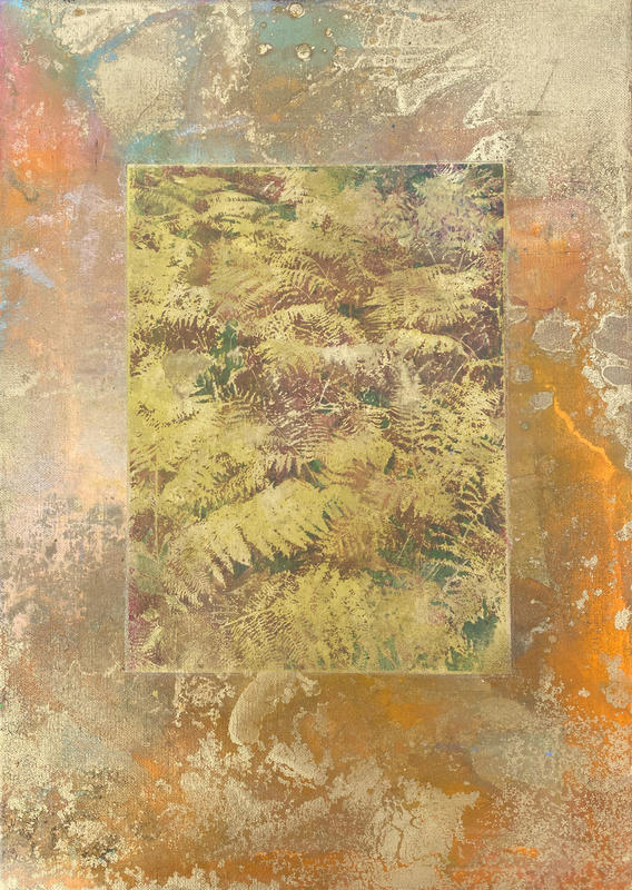 Decorative Ferns. 46 x 32 cm. Acrylic paint, screen-print on panel.