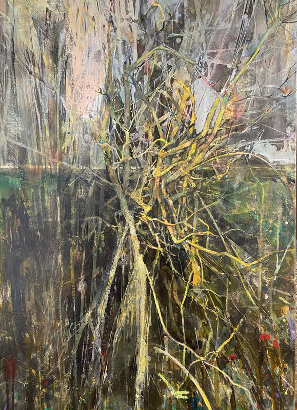Split hawthorn with xanthoria. 70 x 50 cm. Acrylic paint and drawing inks on canvas.