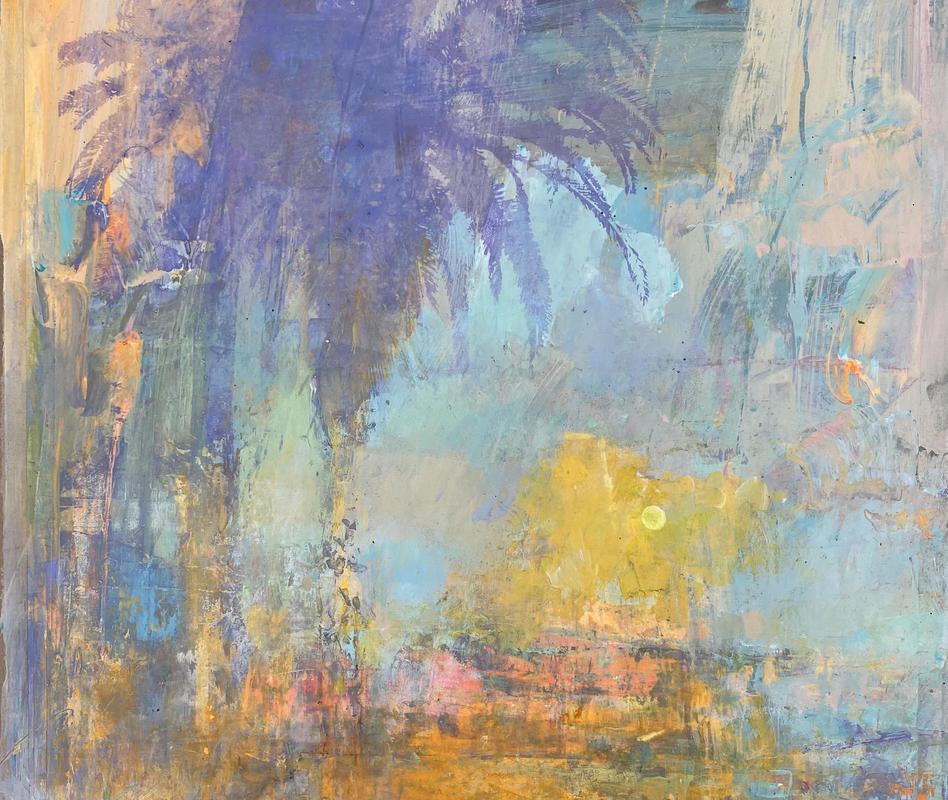 Ocean drive Palm. Santa Monica. Acrylic on paper. 40 x 40 cm
