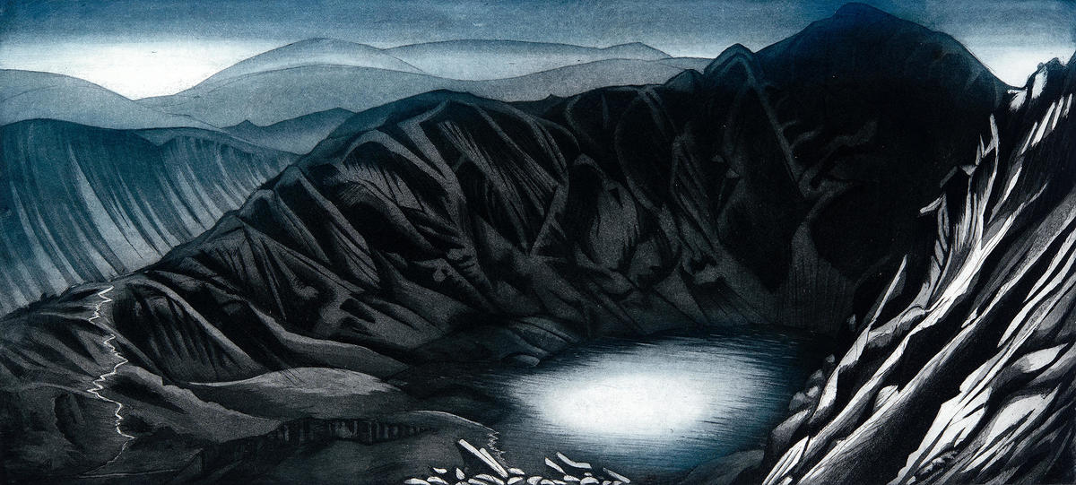 Etching of the Llyn and path up to Cader Idris, somewhere very special to me.
