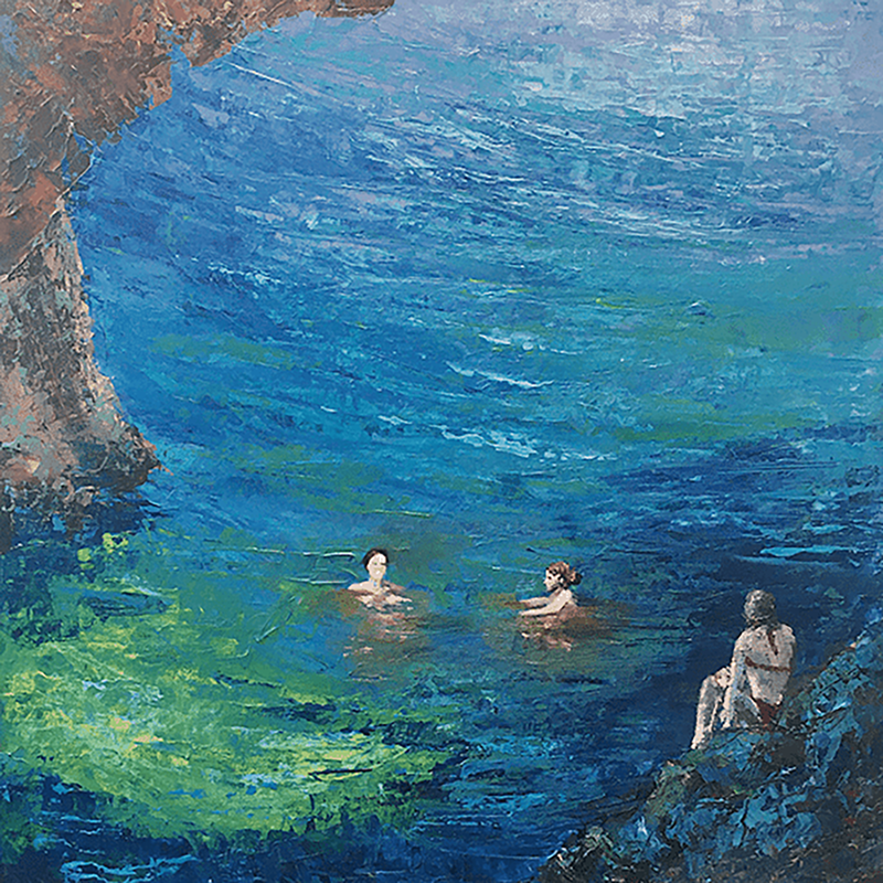 'Wild Swimmers 2'  Acrylic on Box Canvas £380