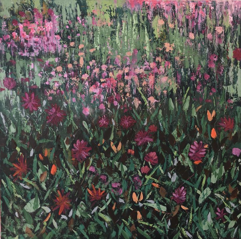 'Dahlias' - Acrylic on Canvas