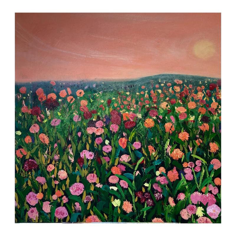 'Carnival of Flowers'  Acrylic on Box Canvas 100 x 100cm £800