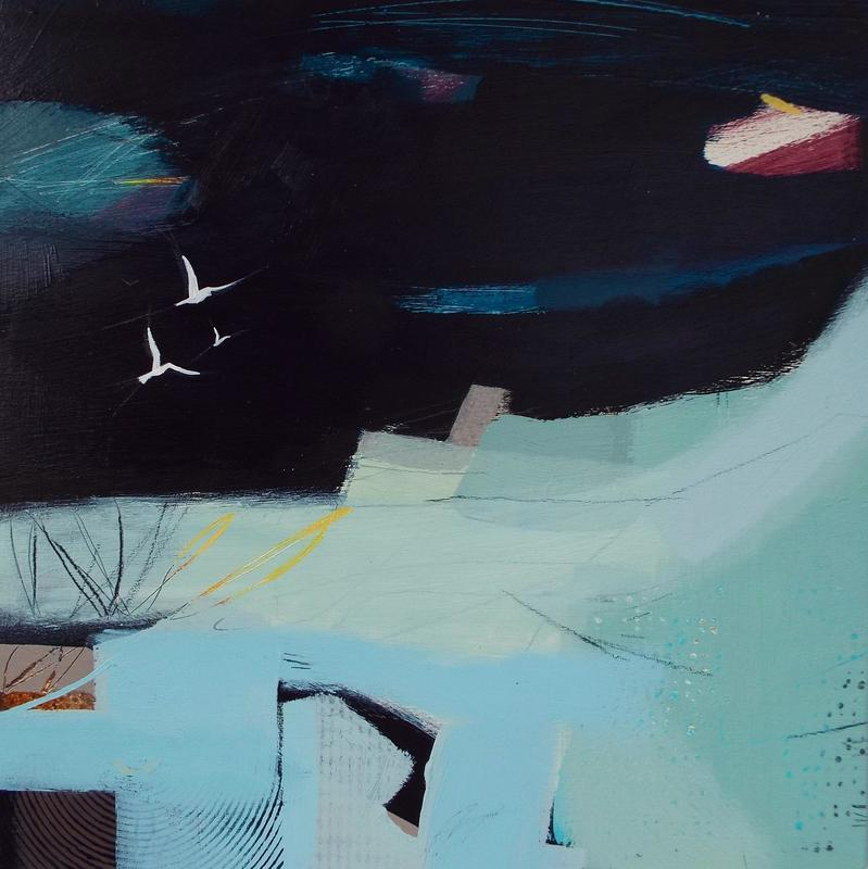 Part of a series of small paintings with landscapes and birds