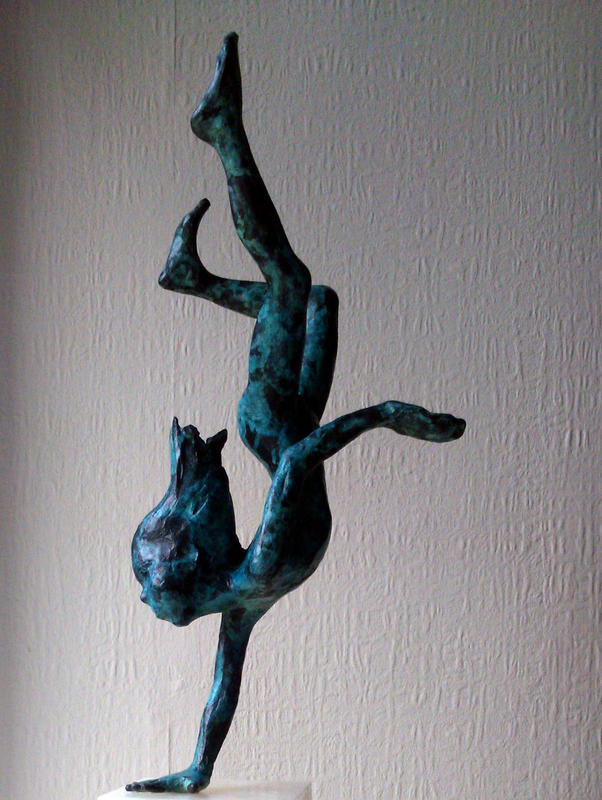 In the Deep End - bronze on alabaster