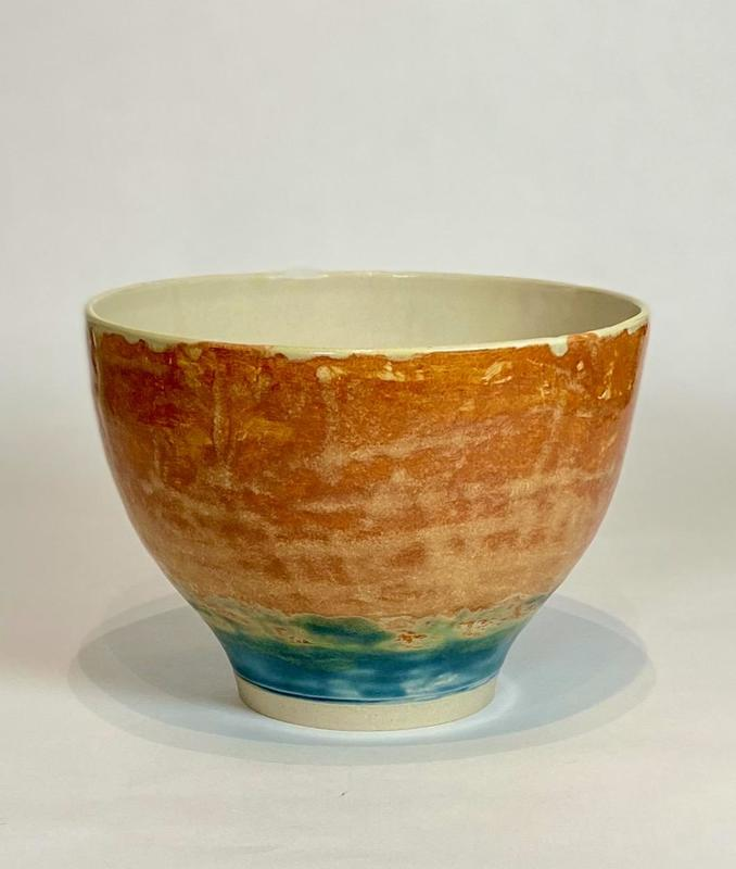 Thrown bowl. Hand painted glazes.