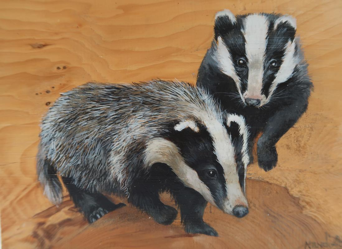 Badgers painted on  Wood. Free standing.