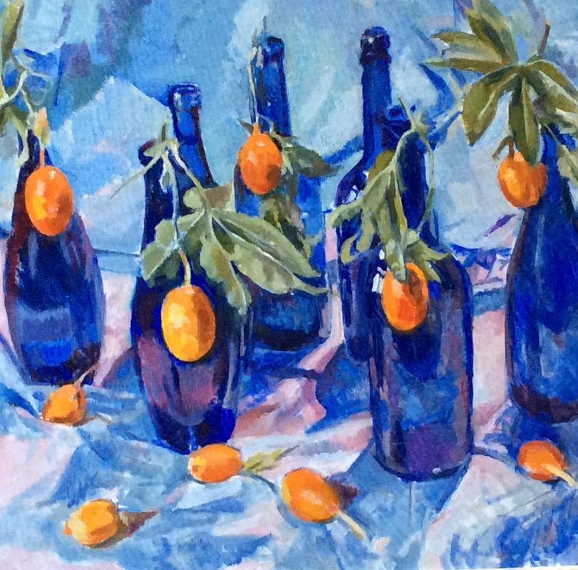 Passion Fruit and blue bottles (detail) 56x46cm oil £195