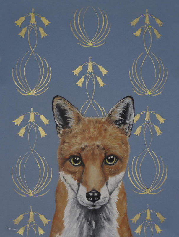 Art Nouveau Fox, Gold Ink and Pastel on board