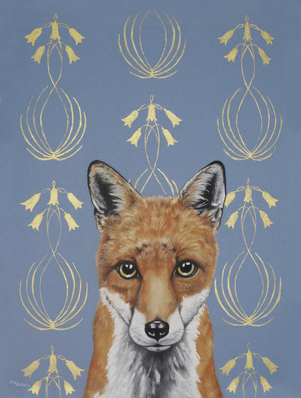 The last in my Art Nouveau series, this time using gold ink in its stylised floral background, with a young fox in pastel in the foreground . Available professionally framed for £460, measures 470mm by 580mm overall