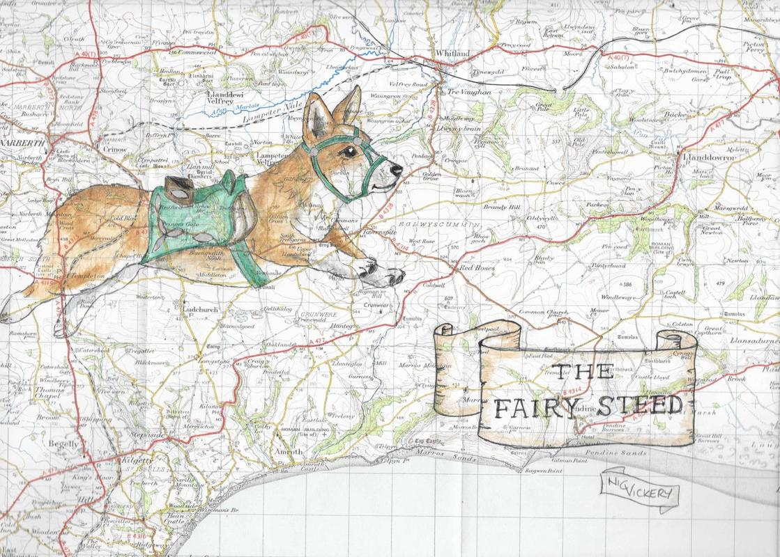The Fairy Steed, ink pen and watercolour on part of a vintage Welsh map. Did you know that Corgi, whens Dwarf dog in Welsh? coming to my website soon