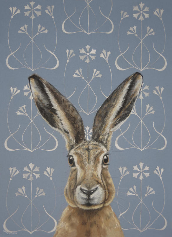 Lièvre Nouveau, Silver Ink and Pastel on board, My first picture combining Art Nouveau style and our British Wildlife. Original now sold, but limited edition prints and postcards available from just £1.20 for a postcard, and £50. for a limited edition print