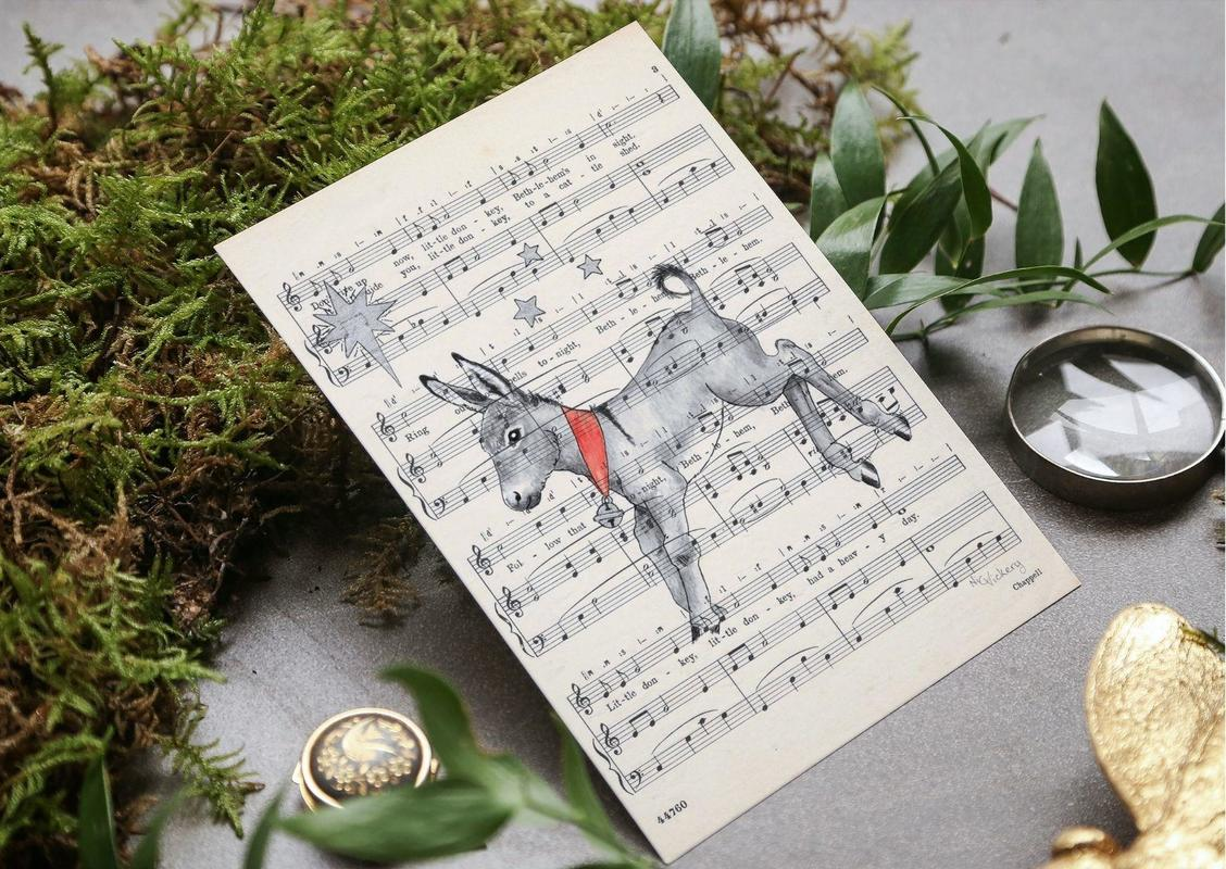 This Christmas card has Little Donkey naturally skipping across his own vintage sheet music, available from my website, in large A5 size