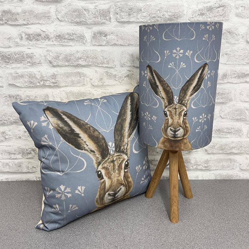Beautifully crafted cotton fabric lampshade and cushion. Made to order in the UK